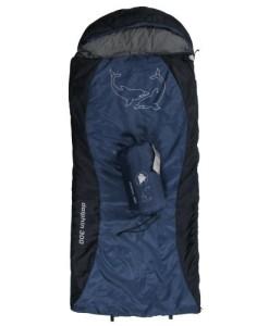 10T-Dolphin-300-Kinder-Decken-Schlafsack-mit-Halbmond-Kopfteil-180x75cm-blaudunkelblau-Motivdruck-bis-10C-0