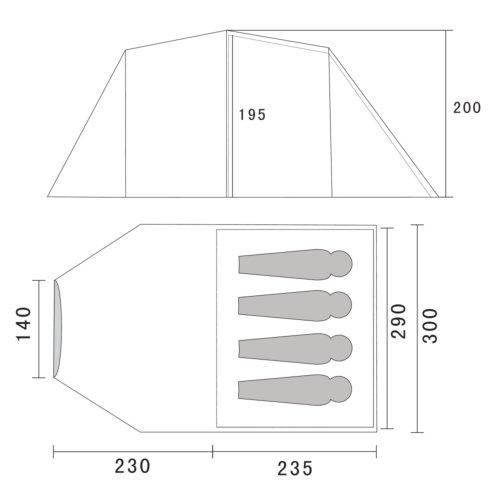 10T-Wilton-4-4-Personen-Apsis-Tunnel-Zelt-mit-Voll-Bodenplane-Vorraum-teilbare-Innenkabine-WS5000mm-0-0
