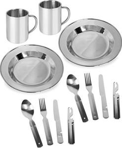 2-x-Edelstahl-Geschirrset-fr-2-Personen-bestehend-aus-Essbesteck-Teller-und-Tasse-0