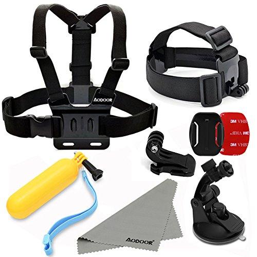 Aodoor-Gopro-Zubehr-5-in-1-Kit-fr-Gopro-HD-Hero4-Hero3-Hero3-Hero2-Held-Kamera-M-Ebene-J-frmigen-Grund-Car-Saugnapf-Halterung-sieben-Zentimeter-in-Chassisdurchmesser-Brustgurt-Kopfband-montieren-Auftr-0