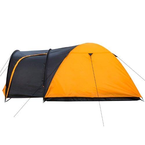 campfeuer kuppelzelt iglu zelt mit vorbau f r 3 4 personen schwarz orange sportartikel. Black Bedroom Furniture Sets. Home Design Ideas