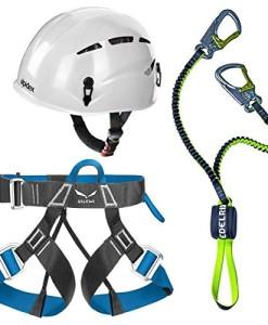 Edelrid-Klettersteigset-Cable-Lite-23-Alpidex-Universal-Kletterhelm-ARGALI-in-bright-white-Salewa-Klettergurt-Via-Ferrata-Evo-0