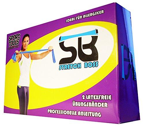 NEUPremium-Bestseller-Fitnessband-bestes-THERAPYBAND-Allergiker-geeignet-TOP-Qualitt-Geruchsneutral-Reifest-Inkl-bungsheft-Aufbewahrungsbeutel-2-Strken-Set-mit-je-25m-Xtralnge-Limitiertes-Angebot-Jetz-0-1