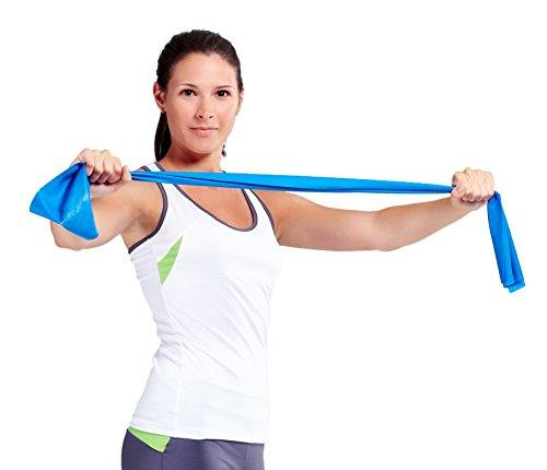 NEUPremium-Bestseller-Fitnessband-bestes-THERAPYBAND-Allergiker-geeignet-TOP-Qualitt-Geruchsneutral-Reifest-Inkl-bungsheft-Aufbewahrungsbeutel-2-Strken-Set-mit-je-25m-Xtralnge-Limitiertes-Angebot-Jetz-0-4