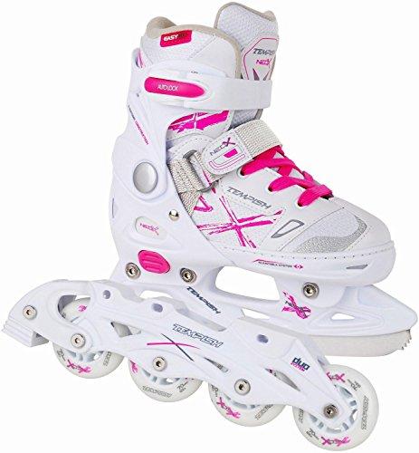 2in1-Schlittschuhe-Inliner-NEO-X-DUO-ABEC5-pink-wei-Gr-29-32-33-36-37-40-verstellbare-Mdchen-Skates-0