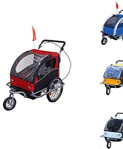 360-Drehbar-Kinderanhnger-2-in-1-Fahrradanhnger-Jogger-6-Farben-NEU-0