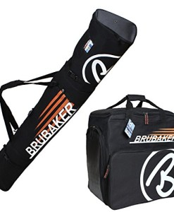 BRUBAKER-Kombi-Set-CHAMPION-Skisack-und-Skischuhtasche-fr-1-Paar-Ski-bis-170-cm-Stcke-Schuhe-Helm-Schwarz-Orange-0
