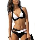 Arrowhunt-Damen-Mdchen-Schwarz-und-Wei-Zweiteilige-Neckholder-Push-Up-Bikini-Set-0