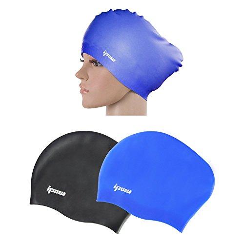 Ipow 2-Stück Hochwertige Silikon Badekappe Bademütze Badehaube Für Lange Haar