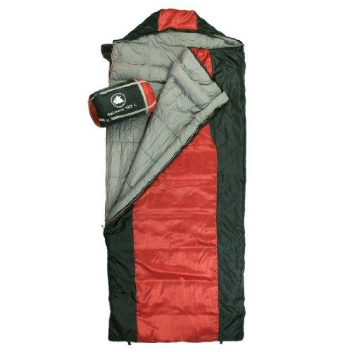 10T-Selawik-125L-Einzel-Decken-Schlafsack-215x90cm-mit-Kapuzen-Kopfteil-1500g-schwarzrot-bis-3-C-0