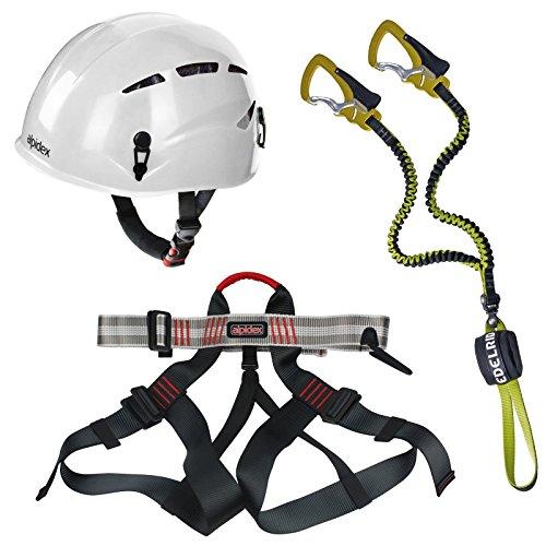 Alpidex-Kletterhelm-ARGALI-bright-white-Alpidex-Klettergurt-TAIPAN-red-pepper-Edelrid-Klettersteigset-Cable-Comfort-23-0