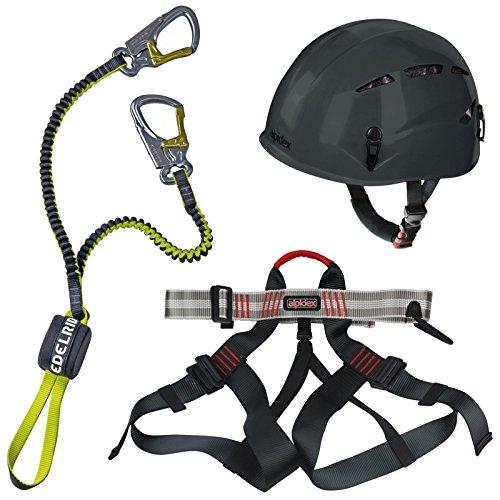 Alpidex-Kletterhelm-ARGALI-mountain-grey-Alpidex-Klettergurt-TAIPAN-red-pepper-Edelrid-Klettersteigset-Cable-Lite-23-0