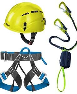 Edelrid-Klettersteigset-Cable-Vario-Alpidex-Universal-Kletterhelm-ARGALI-in-lime-green-Klettergurt-Via-Ferrata-Evo-von-Salewa-0