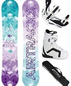 AIRTRACKS-Damen-Snowboard-Komplett-Set-AKASHA-LADY-Flat-Rocker-Snowboardbindung-Savage-W-Boots-Sb-Bag-144-147-150-153-cm-0