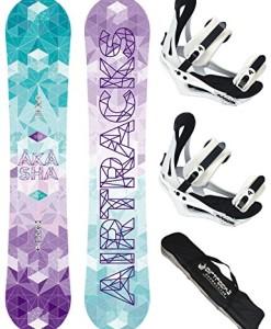 AIRTRACKS-Damen-Snowboard-Set-Akasha-Lady-Flat-Rocker-Snowboardbindung-Savage-W-Sb-Bag-144-147-150-153-cm-0