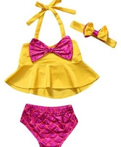 -Mdchen-Meerjungfrauen-Bikini-Badeanzug-mit-Schleife-2-Teile-Set-Badeanzug-Badenmode-0
