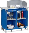Berger-Campingkche-Kchenbox-4-Fcher-blau-grau-inkl-Windschutz-Fe-hhenverstellbar-Hhe-mit-Windschutz-108-cm-0