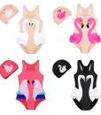 Freebily-Kinder-Mdchen-Badeanzug-Schwimmanzug-frs-Schwimmbad-mit-Badekappe-Badebekleidung-Bademode-Swimsuit-92-98-104-110-116-122-128-0
