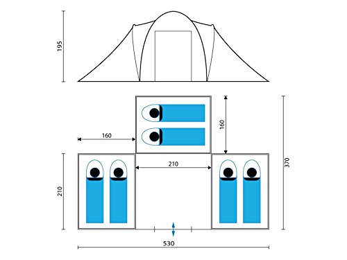Skandika-Daytona-6-Personen-Kuppel-Familienzelt-3-Schlafkabinen-3000mm-Wassersule-195cm-Stehhhe-0-5