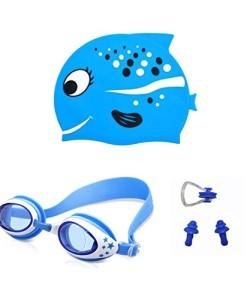 AMEITECH-Kinder-Badekappe-Niedliches-Design-Kinder-Spa-Silikon-Badekappe-Schwimmbrille-mit-Nase-Clip-und-Ohrstpsel-fr-Jungen-und-Mdchen-0