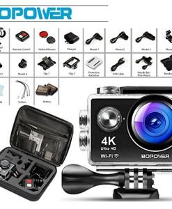 Action-Cam-Ultra-Full-HD-Bopower-4K-1080P-12MP-20-Zoll-170-Weitwinkel-30M-Wasserdichte-Unterwasserkamera-WiFi-Helmkamera-fr-Sport-mit-Handgelenkfernbedienung-1050mAh-Akku-und-18pcs-Zubehr-KitsSchwarzO-0