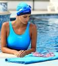 Aqua-Speed-Set-Bunt-Badekappe-Kleines-Mikrofaser-Handtuch-Silikon-Bademtze-Badehaube-Schwimmhaube-Erwachsene-Damen-Herren-Kinder-0