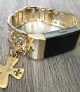 Gold-Band-fr-Fitbit-Laden-2-Herzfrequenz-Fitness-Tracker-Blumen-Design-Jewelry-Fitbit-Laden-2-Armreif-mit-Gold-Christian-Kreuz-Charm-Armband-handgefertigt-verstellbar-0