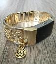 Gold-Band-fr-Fitbit-Laden-2-Herzfrequenz-Fitness-Tracker-Blumen-Design-Jewelry-Fitbit-Laden-2-Armreif-mit-goldfarbenem-keltischem-Knoten-Charm-Armband-handgefertigt-verstellbar-0