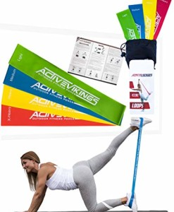 ActiveVikings-Fitnessbnder-Set-4-Strken-by-Ideal-fr-Muskelaufbau-Physiotherapie-Pilates-Yoga-Gymnastik-und-Crossfit-Fitnessband-Gymnastikband-Widerstandsbnder-0