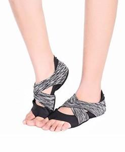 AiYoYo-Anti-Rutsch-Yoga-Socken-Yoga-Schuhe-2-in-1-Zehensocken-Schuhe-aus-Biologischer-Baumwolle-mit-Offenen-Zehen-fr-BalletYogaPilatesTanz-Sport-0