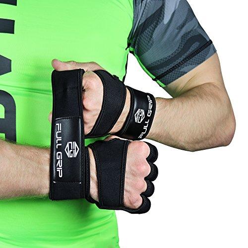 FULL-GRIP-Fitness-Handschuhe-mit-sttzender-Handgelenkbandage-Trainingshandschuhe-fr-Crossfit-und-Kraftsport-mit-Einer-Handinnenflche-aus-Leder-0-2