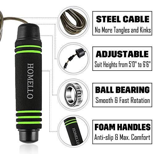 Homello-Springseil-Speed-Jump-Rope-Verstellbare-mit-Hautfreundlichen-Schaum-Griffe-und-Stahl-Seil-fr-Fitness-und-Boxen-Inklusive-Tragebeutel-0-1