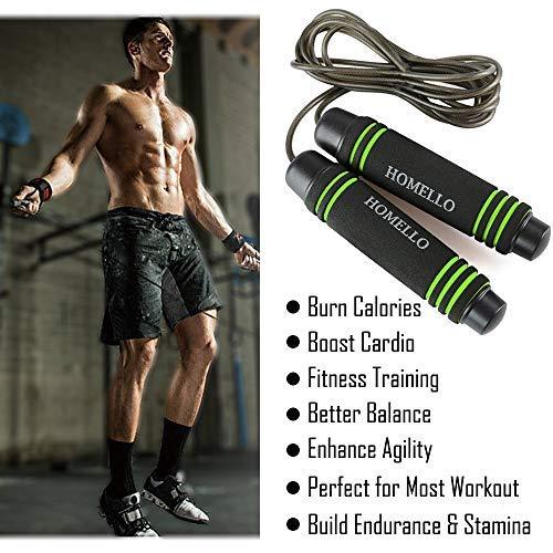 Homello-Springseil-Speed-Jump-Rope-Verstellbare-mit-Hautfreundlichen-Schaum-Griffe-und-Stahl-Seil-fr-Fitness-und-Boxen-Inklusive-Tragebeutel-0-2