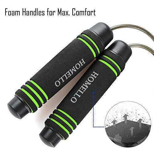 Homello-Springseil-Speed-Jump-Rope-Verstellbare-mit-Hautfreundlichen-Schaum-Griffe-und-Stahl-Seil-fr-Fitness-und-Boxen-Inklusive-Tragebeutel-0-3
