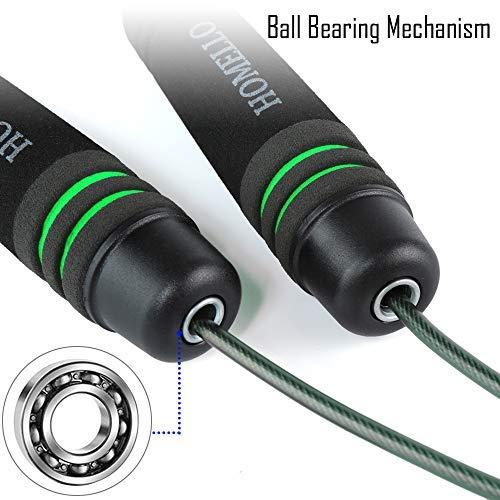 Homello-Springseil-Speed-Jump-Rope-Verstellbare-mit-Hautfreundlichen-Schaum-Griffe-und-Stahl-Seil-fr-Fitness-und-Boxen-Inklusive-Tragebeutel-0-4