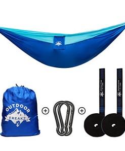 Outdoor-Freakz-Outdoor-Hngematte-bis-300kg-und-300-x-200-cm-Karabiner-Schwerlastgurte-ideal-fr-Wandern-Camping-und-Survival-0