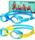 OMERIL-Schwimmbrille-Kinder-2-Stcke-Swimming-Goggles-Antibeschlag-Lecksicher-Wasserdicht-und-Weiches-Silikon-Swim-Goggles-Grenverstellbar-Premium-Schwimmbrille-fr-Kinder-mit-Tragbare-Tasche-0