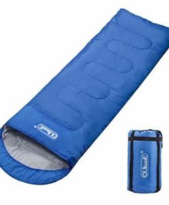 Oule-GmbH-Schlafsack-Deckenschlafsack-3-Jahreszeiten-210T-Polyester-220-x-75-cm-5-bis-20-C-100-Baumwollhohlfaser-300-gm-Fllung-Stabil-leicht-mit-kleinem-Packma-in-Tragetasche-Blau-0