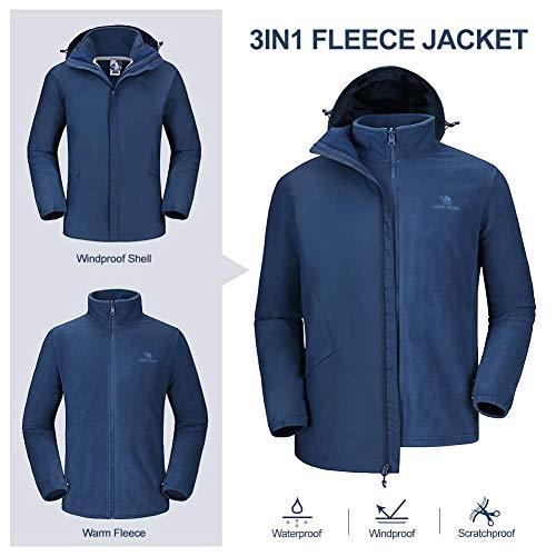 CAMEL CROWN 3 in 1 Herren Outdoorjacke Wasserdicht Winddicht Warmer Skijacke mit Taschen Kapuze Zweiteilige Winterjacke mit Fleece Jacke Freizeitjacke