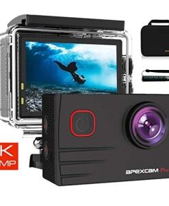 2019-NEU-Apexcam-Pro-Action-Cam-4K-20MP-Sportkamera-WiFi-Unterwasserkamera-24G-Fernbedienung-Wasserdicht-40m-20-Zoll-LCD-Bildschirm-170--Weitwinkel-mit-Zwei-1200mAh-Batterien-externes-Mikrofon-0