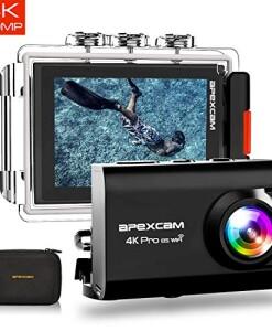 2019-NewApexcam-Action-cam-4K-20MP-Sportkamera-EIS-WiFi-Wasserdichte-Unterwasserkamera-40M-Externes-Mikrofon-20LCD-170--Weitwinkel-24G-Fernbedienung-2x1200mAh-Batterien-und-mehrere-Zubehrteile-0