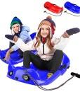 Bob-Schlitten-Kinder-Lenkschlitten-Lenkbob-Kinderschlitten-Schneebob-Skibob-fr-Kinder-Rodelschlitten-Kunststoffrodel-mit-Langer-Kordelzug-2-Griffe-mit-Stabilitt-und-BremsschutzPanda-FormRotBlau-0